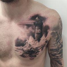 """Lighthouse tattoo done by Mor. #workproud #wearproud"""