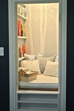 I'm really liking this closet idea for a book room! awesome!