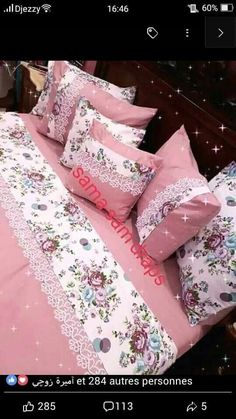 Pin by Souad on Couverture lit Bed Cover Design, Cushion Cover Designs, Homemade Bed Sheets, Homemade Beds, Sewing Pillows, Diy Pillows, Draps Design, Bed Sheet Painting Design, Purple Bedroom Decor
