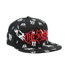 DC Comics The Dark Knight The Joker Snapback Hat Hot Topic (21 AUD) ❤ liked on Polyvore featuring accessories, hats, print snapback, snapback hats, embroidery hats, print hats and embroidered snapbacks