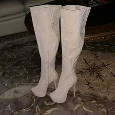 """Beige sexy BLING boots AMAZING!!! SEXY!!! ALMOST 7"""" HEEL WITH PLATFORM AND GOLD DETAIL FROM HEEL TO TOP! Shoes"""