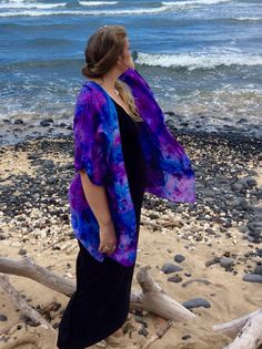 Hand Dyed Turquoise & Purple Silk Butterfly Kimono, Ice Dyed Kimono, Turquoise Orchid