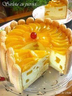 sarlota-cu-piersici-0 Cafe Rico, Mango Cake, Romanian Food, Sweet Tarts, Pie Dessert, Desert Recipes, Sweet Recipes, Cookie Recipes, Cheesecake
