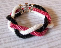 SALE Beadwork 3 Strand Bead Crochet Bracelet white by lutita