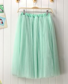 Modern Romantic Princess. Mint Green Mesh Tulle Full Skirt