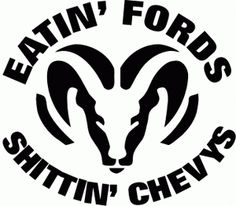 Dodge Ram Eating Fords Shitting Chevys Decal Sticker