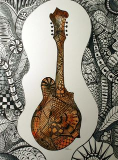 Zentangle art, watercolor, mandolin, music, watercolor art, art, zentangle, instrument, original art