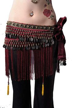 ZLTdream Women s Belly Dance Tribal Hip Scarf with Fringe Coins Flannel  Black 9365c76e6