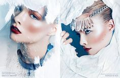 Photography and Art Direction by: Louiza Vick  Model: Brooke Nesbitt @ VISION Los Angeles  Styling by: Sarah Kinsumba  Makeup by: Bethany Ruck for Camera Ready Cosmetics  Hair Styling by: Bethany Ruck for Bumble and Bumble  Nails by: Destinee Handly  Kiss of the Ice Queen by Louiza Vick