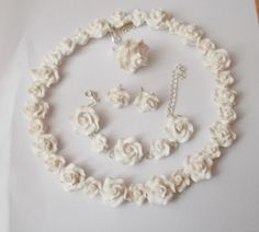 Polymer clay white roses for woman marriage by Monybijoux on Etsy
