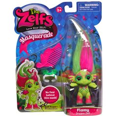 The #Zelfs - #Masquerade - #Flamy Each style of Zelf has a unique personality and power mark and comes with hair-accessories and a comb to kleep those wayward locks in line.
