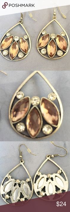 """Dangling Gemstone Earrings These are one of a kind. Bought at a craft fair. Gemstones are not real. Measurements appropriately 1 3/4"""" from ear. 1 1/4"""" Wide  Not marked. Please ask all questions prior to buying Trading Jewelry Earrings"""