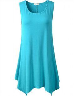 f796c7ccbc0 larace women plus size solid basic flowy tank tops summer sleeveless tunic