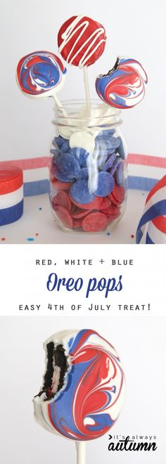 Five Approaches To Economize Transforming Your Kitchen Area Red, White, And Blue Oreo Pops - Easy Treat For July Fourth Fun And Easy Dessert For The Of July, Simple Enough That Kids Can Make Patriotic Dessert. Patriotic Desserts, 4th Of July Desserts, Fourth Of July Food, 4th Of July Party, July 4th, Easy Desserts, Holiday Treats, Holiday Fun, Family Holiday