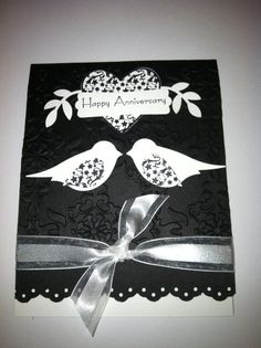 handmade anniversary card ... black and white ... two step bird punch ... love bird ... folkloric look ... like it ... Stampin'Up!