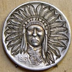 carved by Bob Shamey Us Coins, Rare Coins, Indian Skull, Indian Theme, Hobo Nickel, Coin Art, Copper Penny, Bullion Coins, Native Art