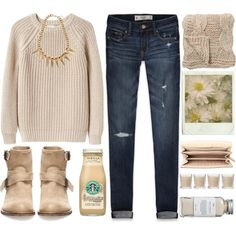 ~ Fall day ~ Love you Rainie ♥♥♥ by berina-2000 on Polyvore featuring moda, Abercrombie & Fitch, Pull&Bear, MICHAEL Michael Kors, Bloomingville, Shabby Chic, Fall, simple, jeans and brown