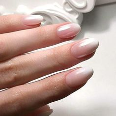Round Nail Designs, Natural Nail Designs, Classy Nail Designs, Ombre French Nails, French Acrylic Nails, Short Rounded Acrylic Nails, Glitter French Nails, Natural Looking Nails, Natural Gel Nails