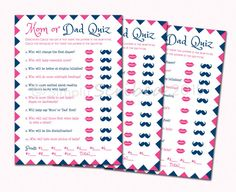 Mom or Dad Trivia Quiz by Simply Scribed makes a fun and easy printable game for Baby Showers. Great for Boy or Girl Showers or Couples' Showers.