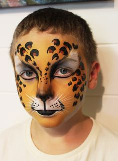 july leopard fast face painting by brierley thorpe Tiger Face Paint Easy, Cheetah Face Paint, Tiger Face Paints, Kitty Face Paint, Cat Face, Easy Halloween Face Painting, Face Painting For Boys, Face Painting Designs, Halloween Makeup Looks