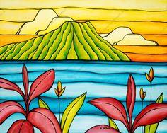 Heather Brown Art, Art Timeline, Tropical Art, Tropical Flowers, Tropical Prints, Hawaiian Art, Surf Art, Hand Painting Art, Beach Art