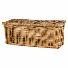 Eco-friendly woven rattan basket with lid.  Product: BasketConstruction Material: RattanColor: NaturalFeatures:  CompostibleEco-friendly Dimensions: 9 H x 21 W x 9.5 D
