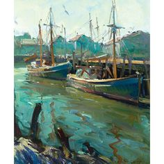 """Robert Charles Gruppe (American, b. 1944), """"Harbor"""", c. 1970; oil/canvas, 30"""" x 25"""", signed. Robert is the son of Emile Gruppe, and is a well established New England Impressionist. He has exhibited regularly at the North Shore Artist Association and the Rockport Artist Association."""