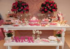 Instead of Amor.use Avon! Wedding Decorations, Table Decorations, Its My Bday, Couple Shower, Dessert Table, Event Decor, Pretty In Pink, Bridal Shower, Birthday Parties
