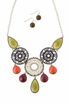 Olive & Orange Necklace and Earring Set... love the look and colors of this necklace