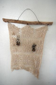 use lace to display earrings