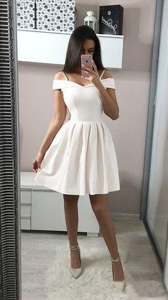 White Off Shoulder Short Prom Dress,Lovely Homecoming Dress sold by SeventeenProm on Storenvy