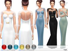 Gown with lace bodice. 10 different colors. New item. Custom mesh by me.  Found in TSR Category 'Sims 4 Female Everyday'