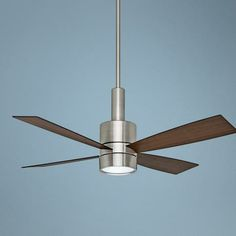 """54"""" Casablanca Bullet Brushed Nickel Ceiling Fan, with remote control and dimming light."""