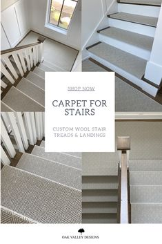 Custom made wool stair treads and landings made to order specifically for your home.  Choose from over 50+ styles and colors to transform the look of any staircase.  A beautiful and affordable alternative to the traditional stair runner.   Our proprietory design comes pre-formed for extremely easy damage-free installation in minutes.  In addition to the pre-form technology each carpet stair tread and landing comes with a sewn-in pad. Stair Banister, Carpet Stair Treads, Carpet Stairs, Hickory House, Colorado Homes, Attic Remodel, Condo Living, Staircase Design, Basements