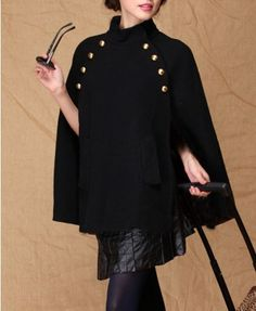 Black Golden Button Double Breasted Poncho Coat