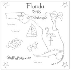 Florida embroidery - I think I might not add the hurricane in the Gulf.