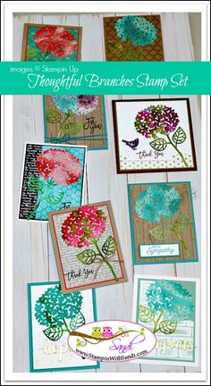 Stampin Up Thoughtful Branches flowers by Sandi @ www.stampinwithsandi.com