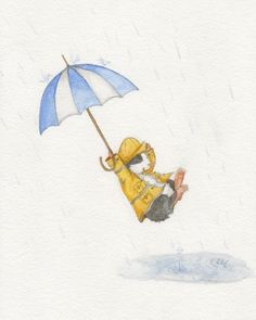 Guinea Pig in a Raincoat with Umbrella Print by WhenGuineaPigsFly, $20.00