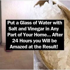 Put a Glass of Water with Salt and Vinegar in Any Part of Your Home… After 24 Hours you Will be Amazed at the Result! beauty diy diy ideas health healthy living remedies remedy life hacks healthy lifestyle beauty tips apple cider vinegar good to know Diy Cleaning Products, Cleaning Solutions, Cleaning Hacks, Diy Hacks, Cleaning Mold, Cleaning Spray, Cleaning Checklist, Bathroom Cleaning, Cleaning Supplies