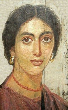 Fayum mummy portrait of a Egyptian lady during the Roman period of Egypt.