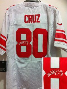 90820f030b1 Nike Giants 80 Victor Cruz White Team Color Men's Embroidered NFL Elite  Autographed Jersey Sterling Shepard