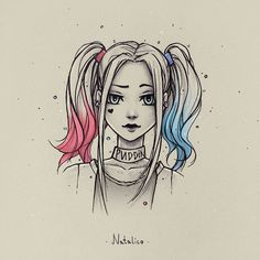 Harley Quinn from natalico on DeviantArt - . - Harley Quinn by natalico on DeviantArt – Girly Drawings, Art Drawings Sketches Simple, Pencil Art Drawings, Cartoon Drawings, Dark Drawings, Princess Drawings, Anime Girl Drawings, Amazing Drawings, Colorful Drawings