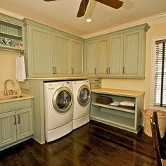 Zillow Digs is a new home improvement hub. Check it out for tons of home design ideas and interior designs room design decorating house design Laundry Room Cabinets, Basement Laundry, Laundry Rooms, Wall Cabinets, Corner Cabinets, Upper Cabinets, Small Basements, Small Laundry, Laundry Room Design