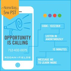 Have you been wondering what this Rodan + Fields thing is all about but you're not quite ready to chat yet? I've got just what you need! You can listen to an awesome call about our biz opportunity totally anonymously! Our top leaders, Sarah Robbins and her mom Kris, will tell you all about it in a quick 15 minutes at 7pm CT tonight. So if you've been curious, dial in. It's worth it. Missed the call? Listen to the replay anytime at 712-432-1085 (same access code.)