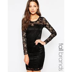 Vero Moda Tall Lace Bodycon Mini Dress ($49) ❤ liked on Polyvore featuring dresses, black, bodycon cocktail dress, black dress, short lace dress, lace bodycon dress and lace dress