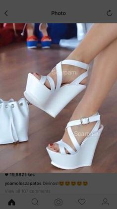 I love these white heels Wooow! I love these white heels High Heels Boots, Platform High Heels, Black High Heels, Lace Up Heels, Sexy Heels, Wedge Shoes, Shoe Boots, Shoes Heels, White Heels