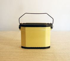 Vintage French Enamelware Lunch Pail Box tin in Soft Yellow & Black