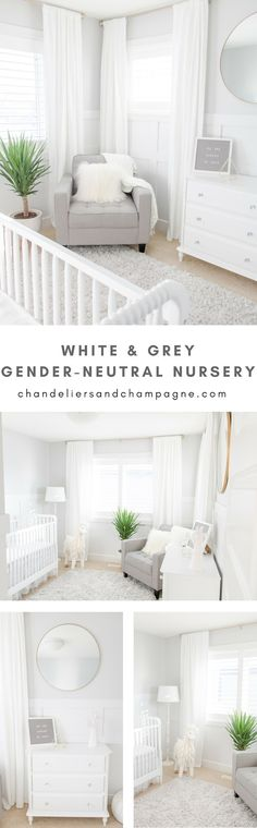 White and grey gender-neutral nursery inspiration - white and gray gender-neutral nursery with gold tone accents, white drapes, white crib and gray feeding chair