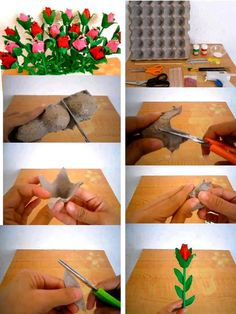 DIY Making Roses From Egg Cartons