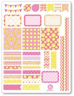 Pink Lemonade Decorating Kit / Weekly Spread Planner Stickers for Erin Condren Planner, Filofax, Plum Paper: